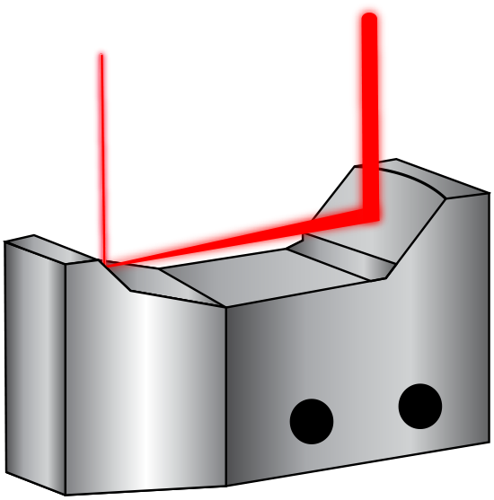The curved mirrors of a Monolithic Reflective Beam Expander expand the incident laser beam<